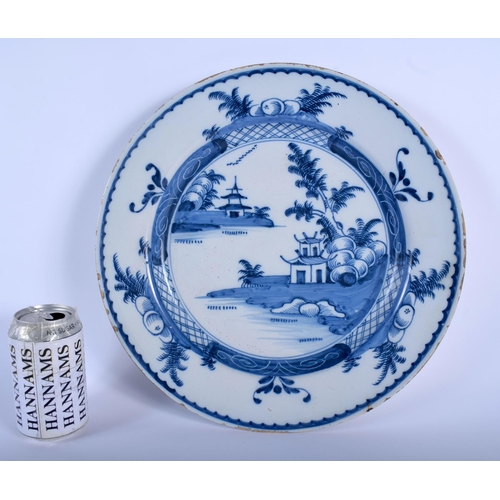 56 - A LARGE 18TH CENTURY DUTCH DELFT BLUE AND WHITE CIRCULAR DISH painted with a hut upon an island. 32 ...