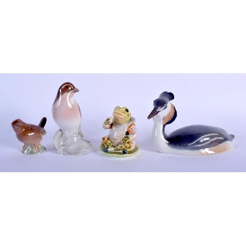 59 - A BESWICK GOLD STAMP BEATRIX POTTERY JEREMY FISHER FIGURE together with three Bing & Grondahl figure...