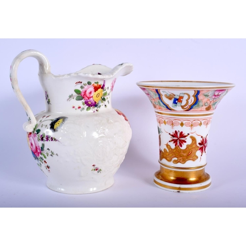 65 - AN EARLY 19TH CENTURY ENGLISH PORCELAIN FLARED VASE probably Coalport, together with a moulded and p...
