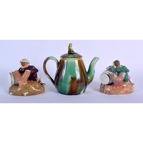 66 - A 19TH CENTURY MINTON MAJOLICA TEAPOT AND COVER together with a pair of English porcelain inkwells i...