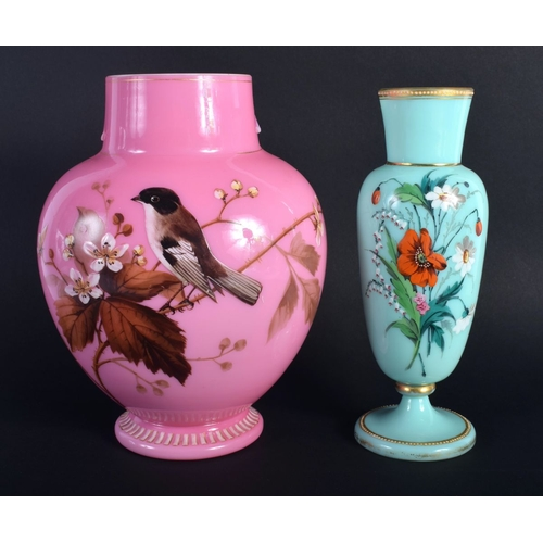 1 - AN EDWARDIAN PINK OPALINE GLASS VASE together with a smaller vase. Largest 21 cm high. (2)