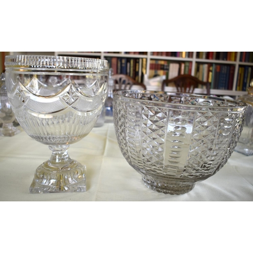 10 - A REGENCY PEDESTAL CUT CRYSTAL GLASS PEDESTAL BOWL together with another similar large diamond cut  ...