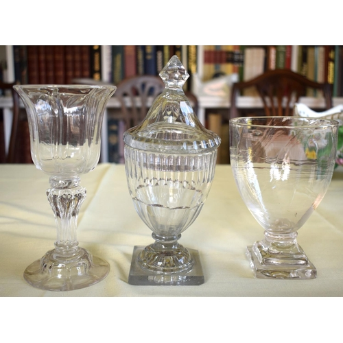 12 - A REGENCY GUT GLASS VASE AND COVER possibly Irish, together with other antique glass pedestal bowls....