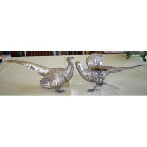 16 - A LOVELY PAIR OF STERLING SILVER TABLE PHEASANTS by F & Son Ltd, well modelled in natural stances. 6...
