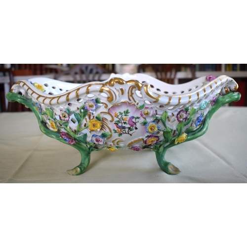 25 - A LARGE LATE 19TH CENTURY MEISSEN PORCELAIN ENCRUSTED BASKET painted with flowers and naturalistic v...