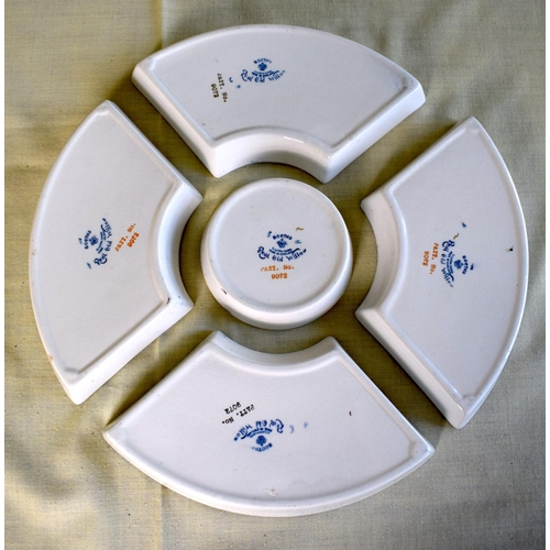26 - A BOXED BOOTHS REAL OLD WILLOW PATTERN H'ORS D'OEUVRES SET within a fitted box. 28 cm diameter.