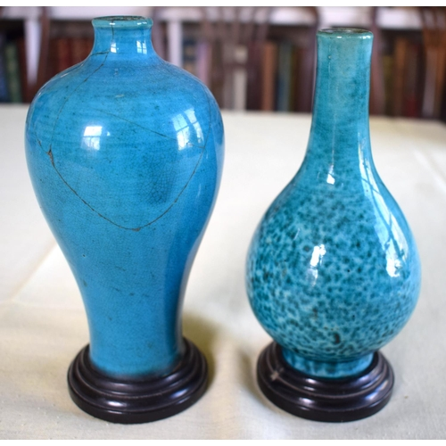 29 - AN EARLY 18TH CENTURY CHINESE TURQUOISE GLAZED MEIPING STYLE VASE Late Kangxi, together with a simil...