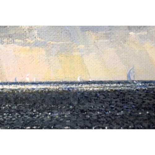 36 - Cavendish Morton (1911-1915) Scottish, Oil on board, coastal scene. Image 30 cm x 15 cm.