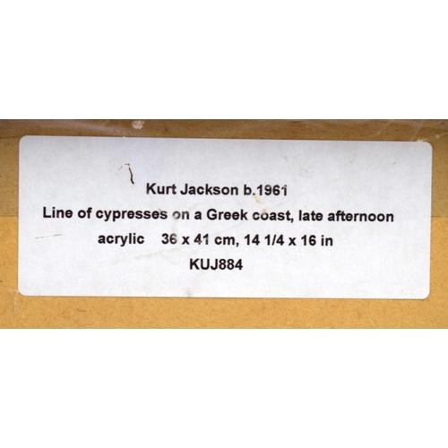 39 - Kurt Jackson (20th Century) Watercolour Acrylic on card, Greek landscape. 40 cm x 35 cm.