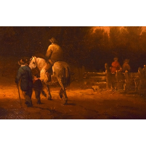4 - Alexander Naysmith (1758-1840) Oil on board, Figures roaming within a landscape. Image 32 cm x 20 cm...
