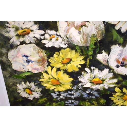 41 - Elizabeth Cameron (20th Century) Oil on board, Flowers. Image 119 cm x 78 cm.