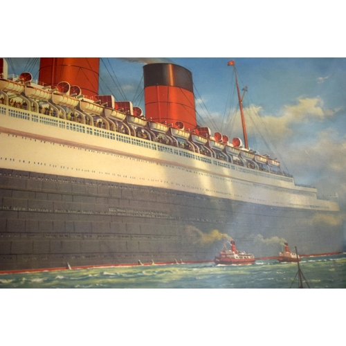 43 - William McDowell (20th Century) Print, RMS Queen Mary. Image 87 cm x 57 cm.