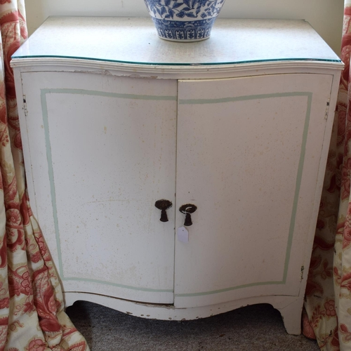 45 - A NEAR PAIR OF VINTAGE SERPENTINE FORM PAINTED WOOD CABINET by John Lewis. Image 80 cm x 84 cm.