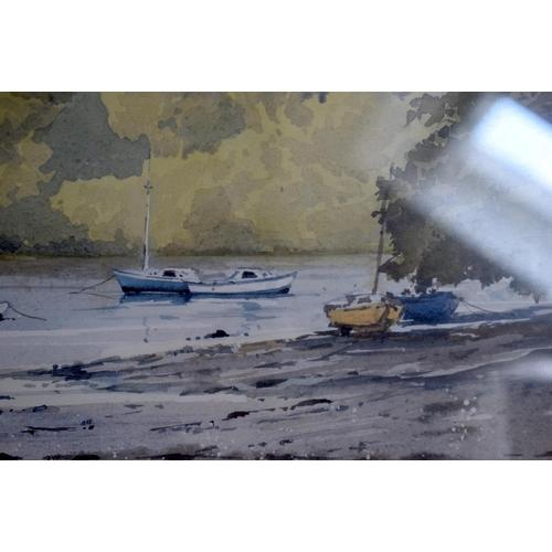 48 - Bert Wright (20th Century) Watercolour, Helford River. Image 47 cm x 32 cm.