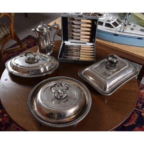 53 - A LARGE COLLECTION OF SILVER PLATE including three serving dishes, a coffee pot, cased set of cutler...