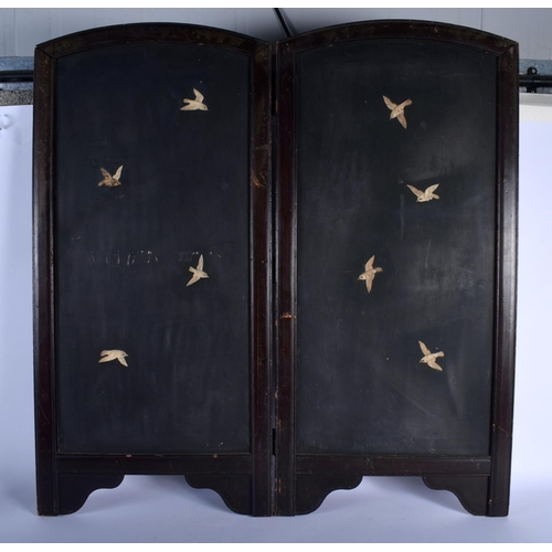 1556 - A 19TH CENTURY JAPANESE MEIJI PERIOD SHIBAYAMA INLAID SCREEN depicting birds amongst landscapes. 80 ...