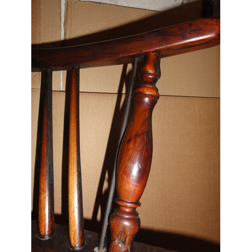 567 - Victorian Windsor chair, metal supports to arms, ht 3ft