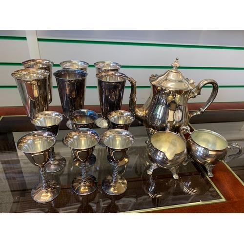61 - EPNS comprising 3-piece tea service, 6 wine goblets & 6 smaller goblets, 6 further modern silver pla...