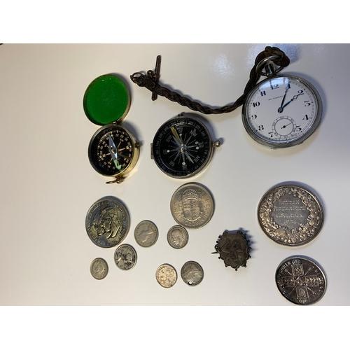 95 - 1924 Howden Flower Show Silver Medallion 31.3gm, 1916 Florin VF, 2 Compass, Pocket Watch etc.