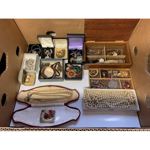 98 - Box vintage costume jewellery including 4 ladies watches, pearl type necklaces, badges etc.