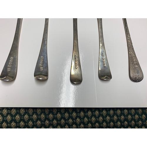 129 - 5 Georgian London Silver berry table spoons. Pr. William Eley & William Ferm 1804, Pr. William Batem...