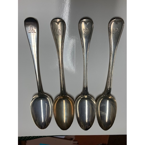 130 - 4 Victorian London Silver table spoons.   3 Charner & Co - 1848 and 1 - 1853 - 345gm (4)