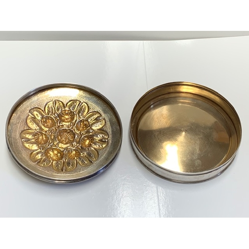 135 - Portugese silver 12cms diameter lidded silver circular box - stamped