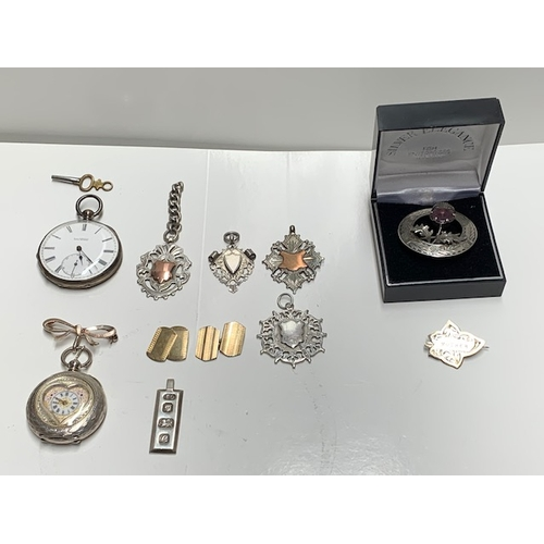 144 - 5 silver fobs, 2 silver brooches, pr silver cufflinks, 69gms, and 2 pocket watches