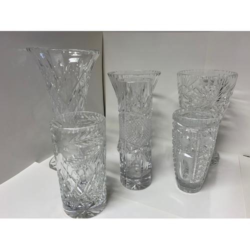 7 - 6 heavy cut glass vases 10