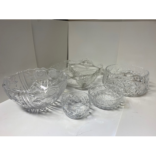 8 - 5 heavy cut glass bowls, the largest is 11