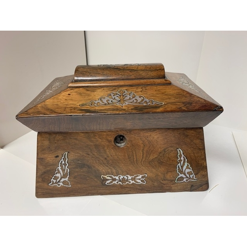 457 - Victorian inlaid walnut tea caddy, some inlay missing and internally caddy lids supports missing