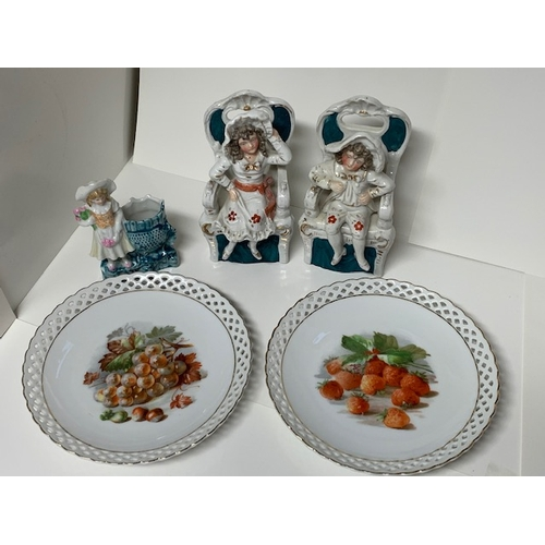 12 - Pr Victorian seated figures, girl ornament, & 2 Bavaria 7