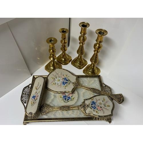 13 - 2 pr brass candlesticks 9