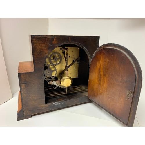 455 - Oak mantel clock (foreign), circa 1930 11.5
