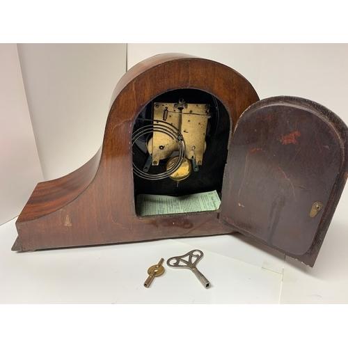 456 - Edwardian inlaid mahogany 8-day 'Napoleon Hat' mantel clock