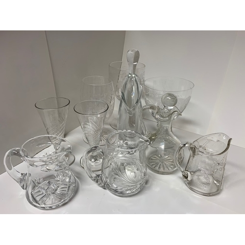 9 - Qty cut glass items: 3 glasses decorated with fruit, 2 early sherry glasses, vinegar bottle, 3 nice ...