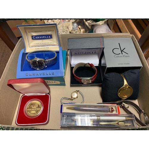 90 - 5 watches including Calvin Klein and Caravelle, 2 pens including Coronation pencil & Kellingley Coll...