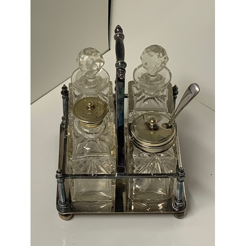 150 - EPNS 4-piece cruet, 4 attractive glass condiments in EPNS stand - Frances Howard Ltd, Sheffield (EPN...