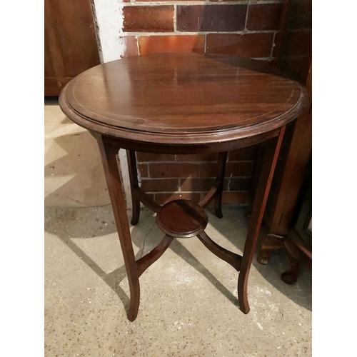 547 - Edwardian inlaid mahogany circular side table, ht 30