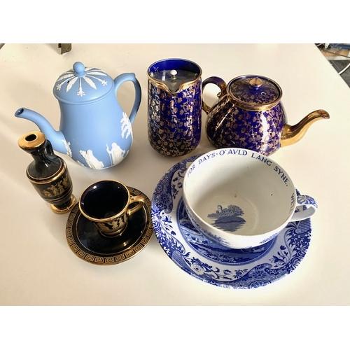 19 - Wedgwood blue teapot, large Spode 'Italian' cup & saucer, blue and gilt teapot & hot water jug & Gre...