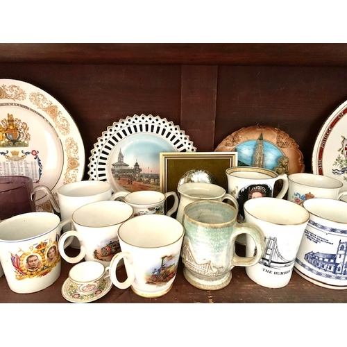 21 - Shelf of Coronationware & Souvenir China including Aynsley Silver Jubilee Plate and two 1935 mugs (3...