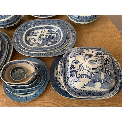 22 - 41 pieces blue & white willow pattern dinnerware including 6 Victorian Ironstone meat plates to 18