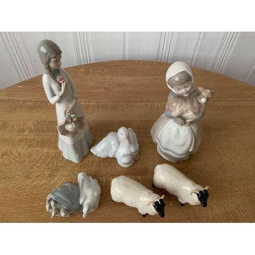 27 - Nao lady with lamb, 2 ducks, Lladro duck & duckling & 2 Beswick sheep (1 horn chipped) (6)