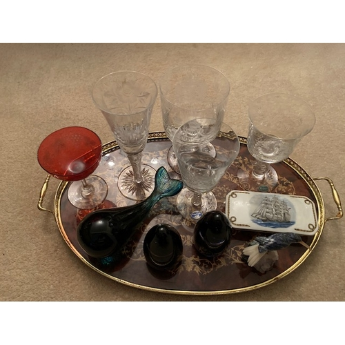 29 - Mixed Lot: 4 EIIR Silver Jubilee cut glass goblets, 3 Wedgwood paperweights, Humming Bird, Cranberry...