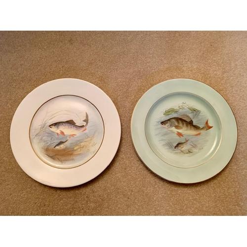 30 - Two 25.5cm Cauldon Ltd, England Cabinet Fish Plates - Perch and Trout - C. Gressley (2)