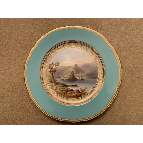 34 - Seven 23cms 19th Century Hand Painted Cabinet Plates decorated with continental scenes - all with re...