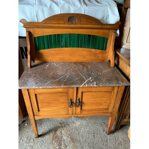 560 - Edwardian marble top satin walnut wash stand, marble top above 2 door cupboard, 36