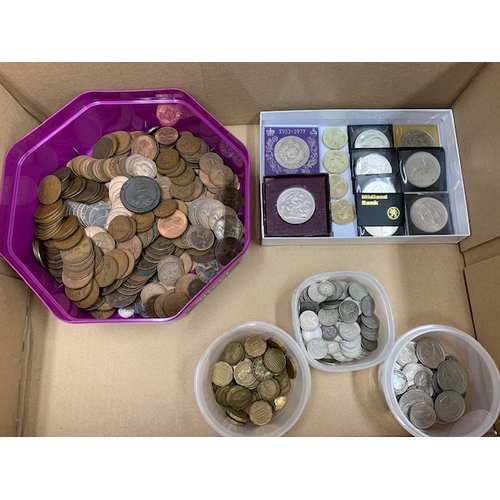 83 - Box coins including 1951 Crown, 1797 Cartwheel penny, 5 £2 coins, 8 modern Crowns, Qty brass 3ds, qt...