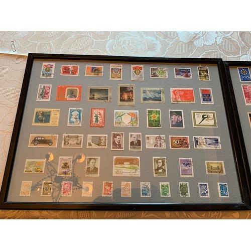85 - 2 Framed USSR (CCCP) Stamp Collages