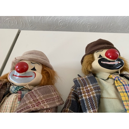 21A - 2 modern novelty clowns with porcelain heads and 2 novelty musicians with similar heads (A/F), clown...